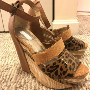Leopard Print Cork Wedges